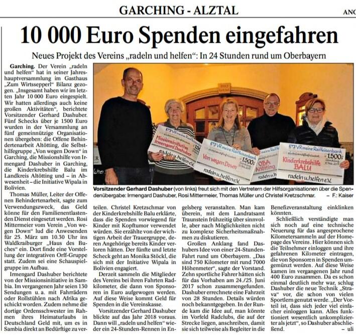 """Spendenübergabe beim Verein """"radeln und helfen"""" im Februar 2017"""