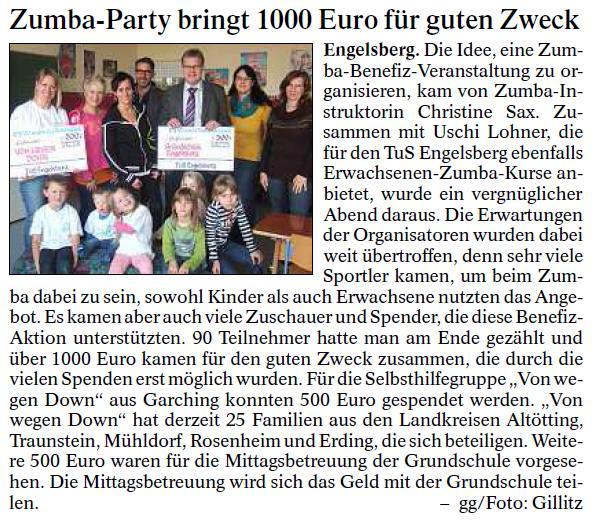 Artikel im Alt-Neuöttinger Anzeiger über den Erlös der Zumba-Party mit Scheckübergabe