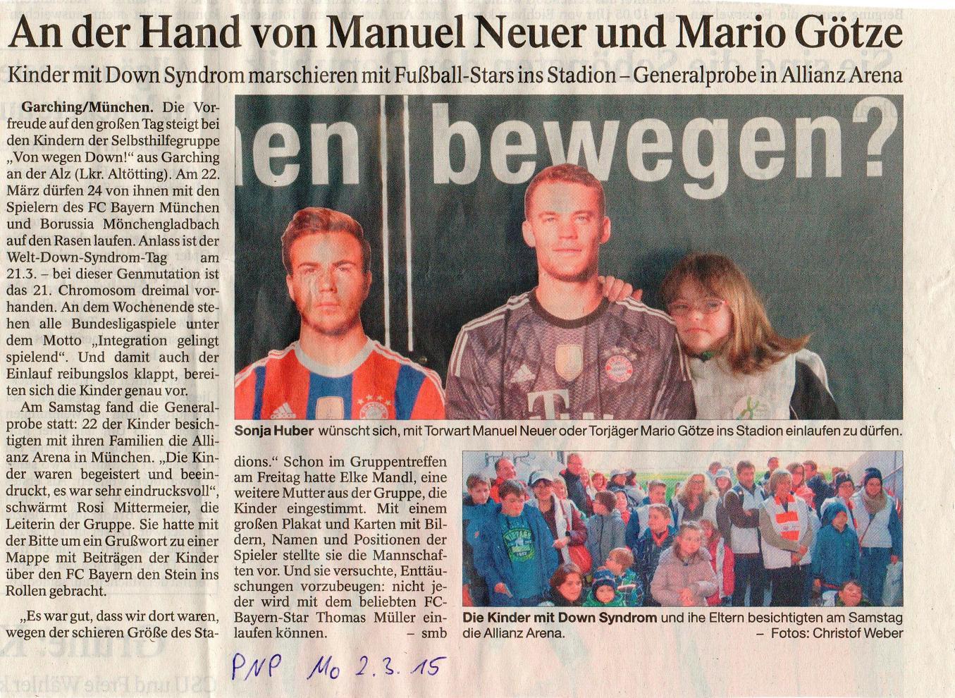 Artikel in der Passauer Neuen Presse über die Vorbereitungen zum Einlaufen am Welt-DS-Tag 2015