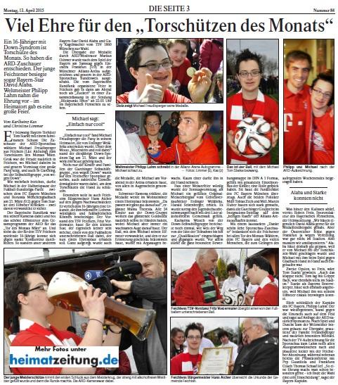 """Verleihung Medaille und Feier zum """"Tor des Monats März 2015"""""""